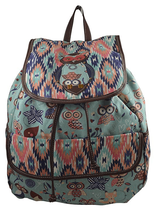 Unionbay Fashion Girls Women's Owl Fox Elephant Butterfly Print Canvas Travel Backpack Rucksack/Sling Backpack