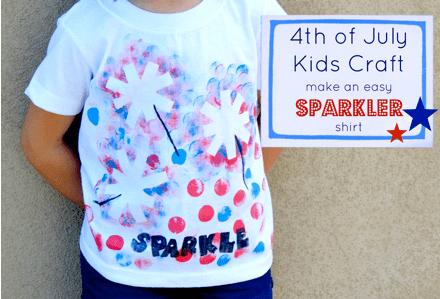 4th of July Crafts for kids: Sparkler T Shirt
