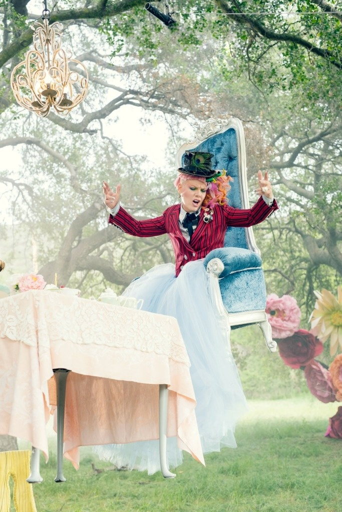 """Pink In The Music Video""""Just Like Fire"""" Features in the movie Alice In Wonderland Through The Looking Glass Tea Party"""