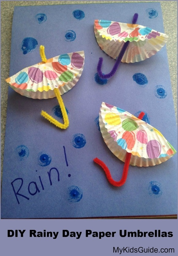 Frugal April Fun Craft for Kids: DIY Rainy Day Paper Umbrellas