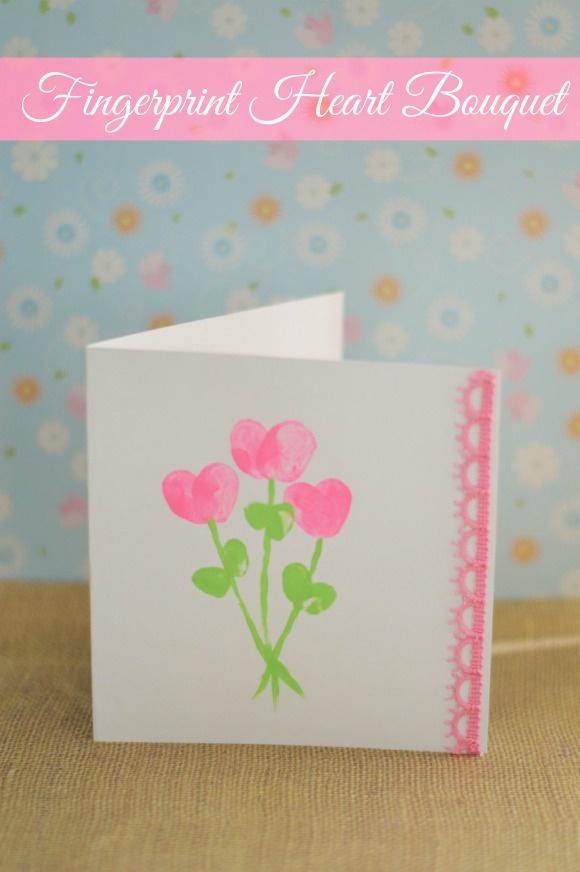 Fingerprint Heart Bouquet Father's day craft for kids