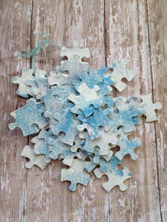 Disney's Frozen Craft: Puzzle Piece Snowflake Ornaments