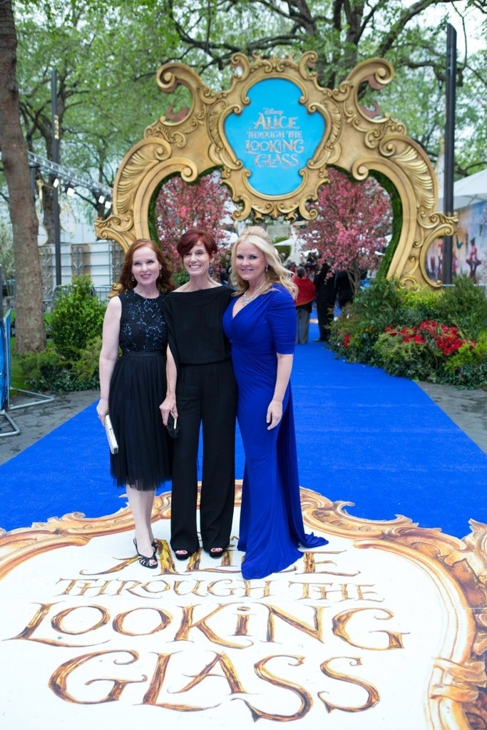 At The UK Movie Premiere of Alice In Wonderland Through The Looking Glass: Jennifer Todd (producer), Linda Wolverton (screenplay writer) and Suzanne Todd (producer)