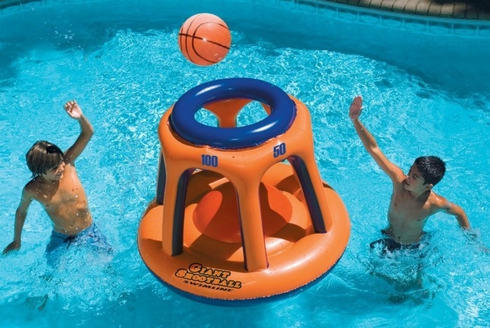 Summer Pool Party Ideas: Overside Floating Pool Basketball Game
