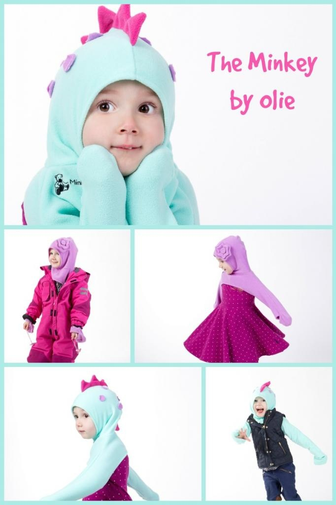 Looking for a great way to keep hats, gloves and scarves on your baby or toddler? The Minkey by Olie is an all-in-one garment that does just that in style!