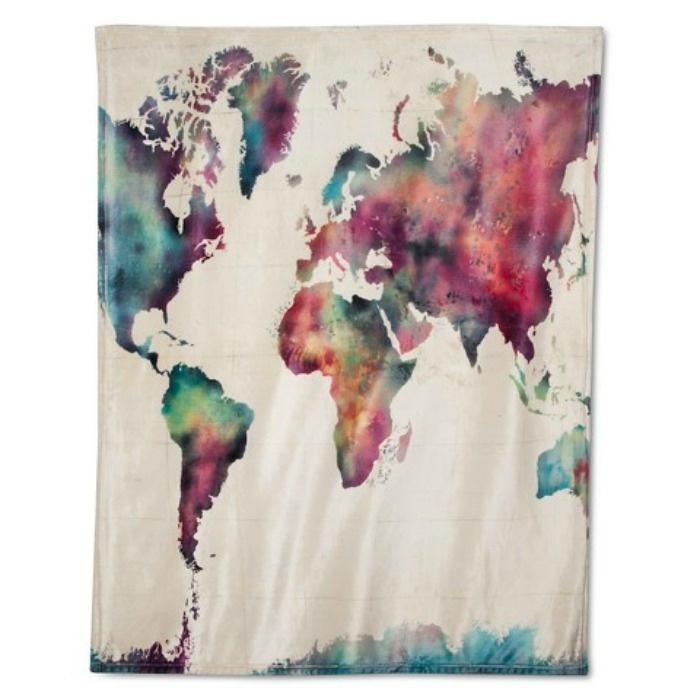 Mother's Day Gift Ideas: Watercolor Map Throw Blanket