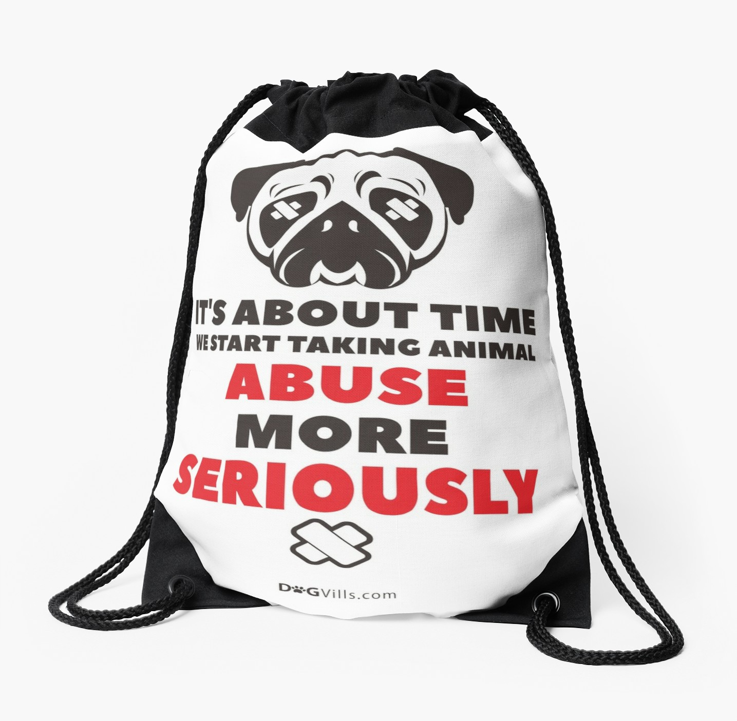 'No Excuse For Animal Abuse' Drawstring Bag by Dogvills