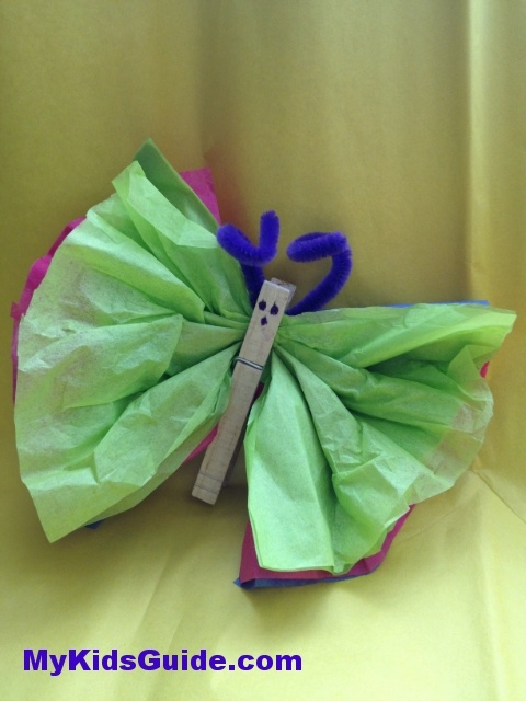 Easter Crafts for Kids DIY Tissue Paper Butterflies