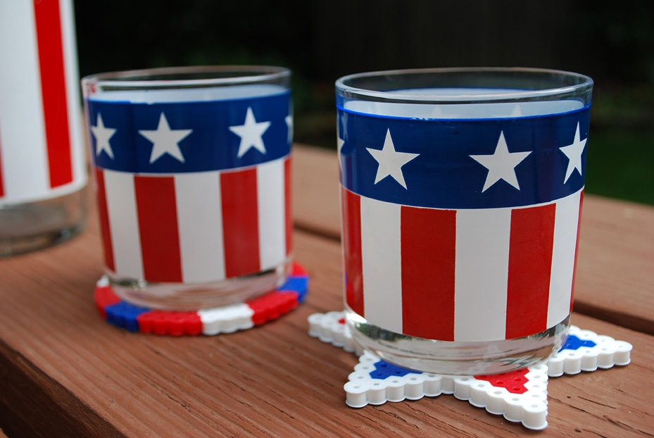 4th of July Crafts for Kids: Perler Bead Coasters