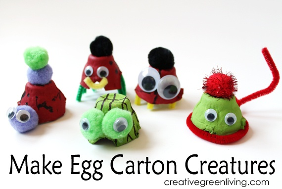 Egg Carton Creatures Earth Day Crafts for kids
