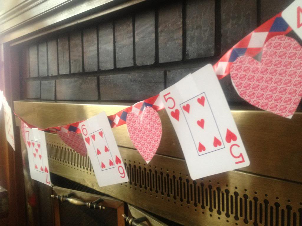 Playing Card Valentine's Day Banner: excellent craft for kids